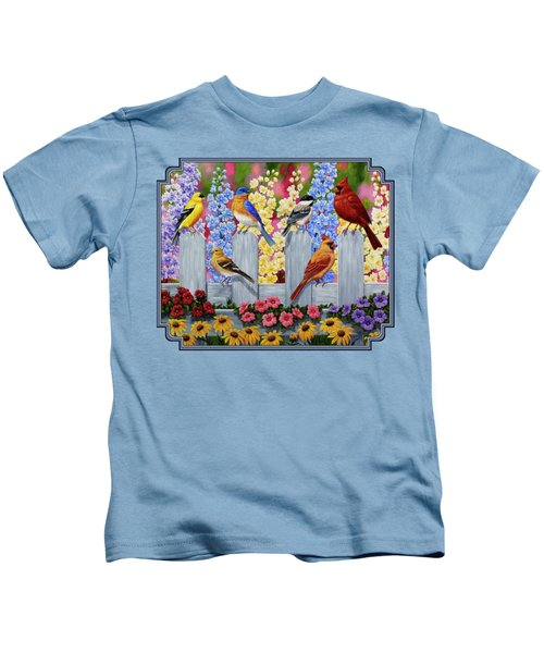 Bird Painting - Spring Garden Party Kids T-Shirt by Crista Forest