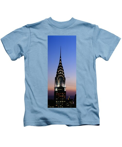 Building Lit Up At Twilight, Chrysler Kids T-Shirt by Panoramic Images