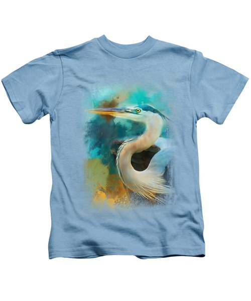 Colorful Expressions Heron Kids T-Shirt by Jai Johnson