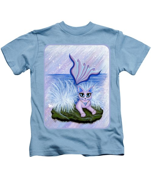 Elemental Water Mermaid Cat Kids T-Shirt by Carrie Hawks