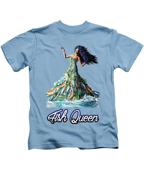 Fish Queen Kids T-Shirt by Anthony Mwangi