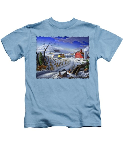 Folk Art Winter Landscape Kids T-Shirt by Walt Curlee