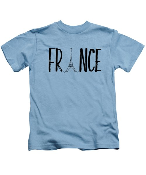 France Typography Panoramic Kids T-Shirt by Melanie Viola