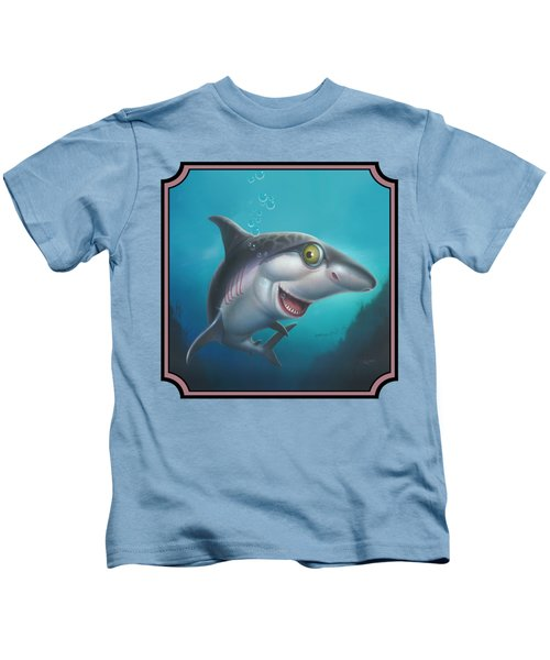 Friendly Shark Cartoony Cartoon - Under Sea - Square Format Kids T-Shirt by Walt Curlee