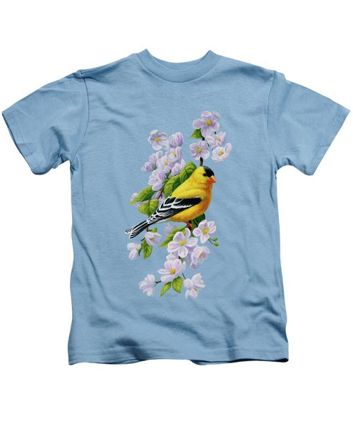Goldfinch Blossoms Greeting Card 1 Kids T-Shirt by Crista Forest