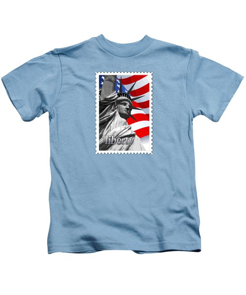 Graphic Statue Of Liberty With American Flag Text Liberty Kids T-Shirt by Elaine Plesser