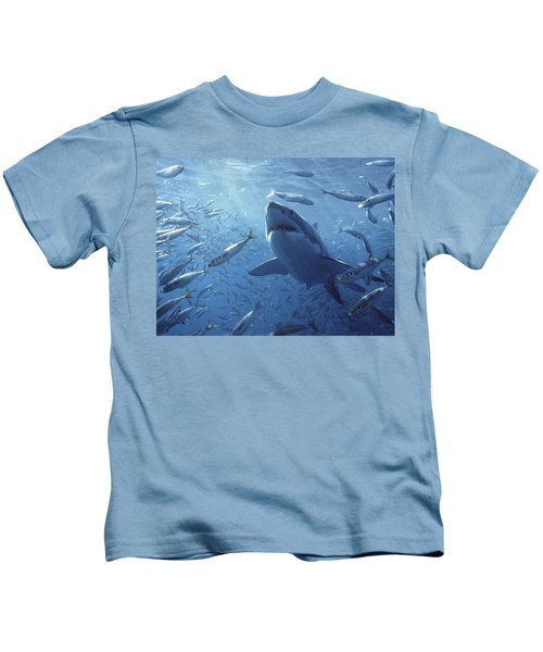 Great White Shark Carcharodon Kids T-Shirt by Mike Parry