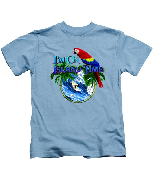 Island Time Surfing Kids T-Shirt by Chris MacDonald