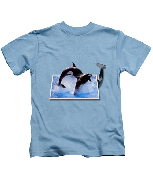 Leaping Orcas Kids T-Shirt by Roger Wedegis