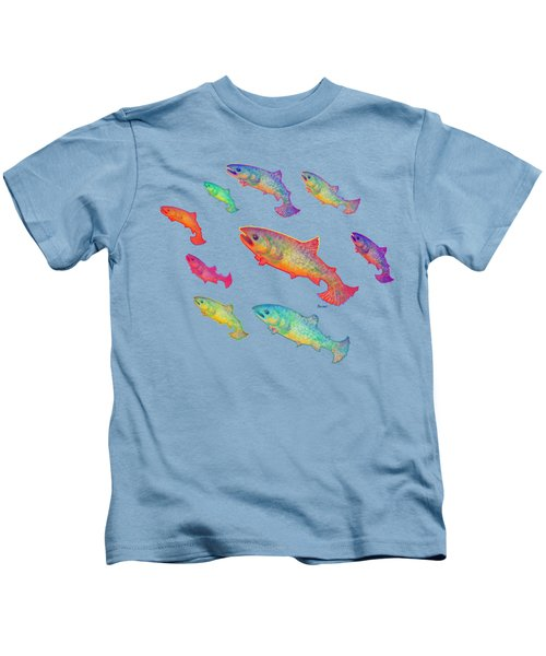 Leaping Salmon Shirt Image Kids T-Shirt by Teresa Ascone