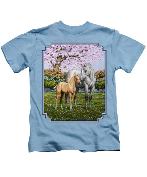 Mare And Foal Pillow Blue Kids T-Shirt by Crista Forest