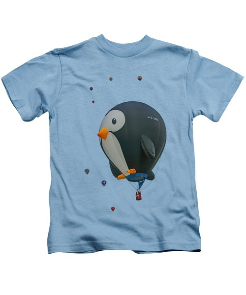 Penguin - Hot Air Balloon - Transparent Kids T-Shirt by Nikolyn McDonald