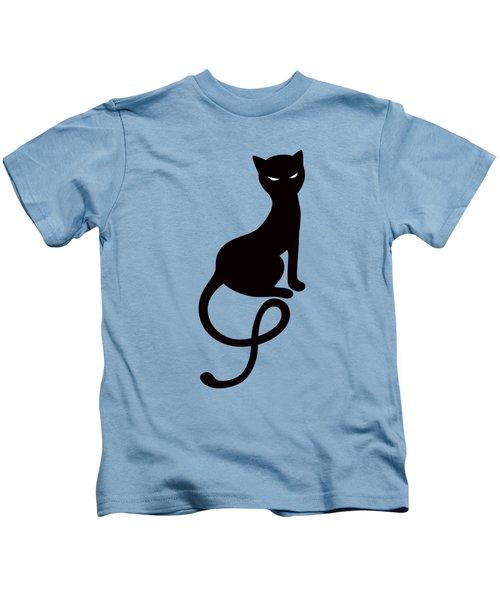 Purple Gracious Evil Black Cat Kids T-Shirt by Boriana Giormova