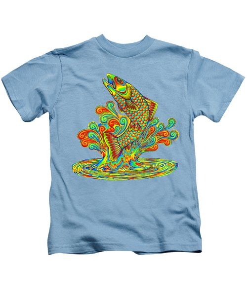 Rainbow Trout Kids T-Shirt by Rebecca Wang