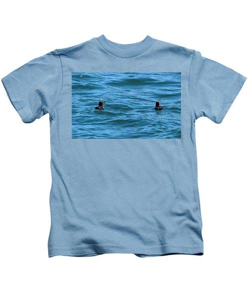 Rhinoceros Auklet Kids T-Shirt by Linda Kerkau