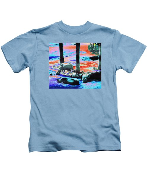 Rhinos Having A Picnic Kids T-Shirt by Abstract Angel Artist Stephen K