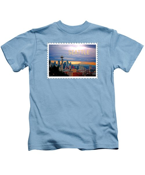 Seattle At Sunset Text Seattle Kids T-Shirt by Elaine Plesser