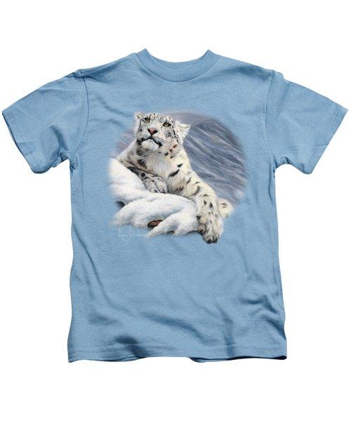 Snow Leopard Kids T-Shirt by Lucie Bilodeau
