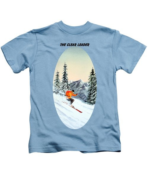 The Clear Leader Skiing Kids T-Shirt by Bill Holkham