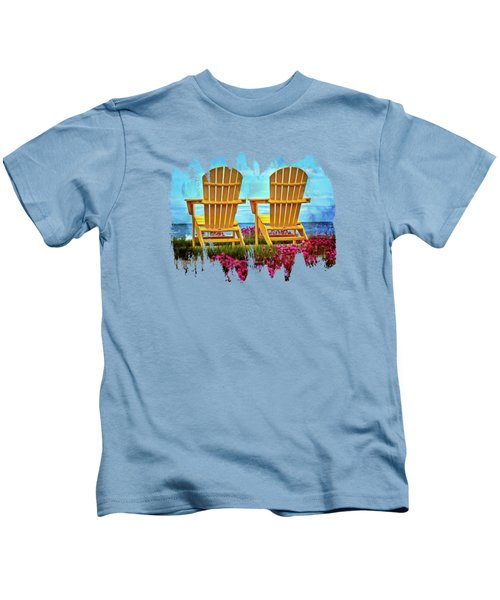 The Yellow Chairs By The Sea Kids T-Shirt by Thom Zehrfeld