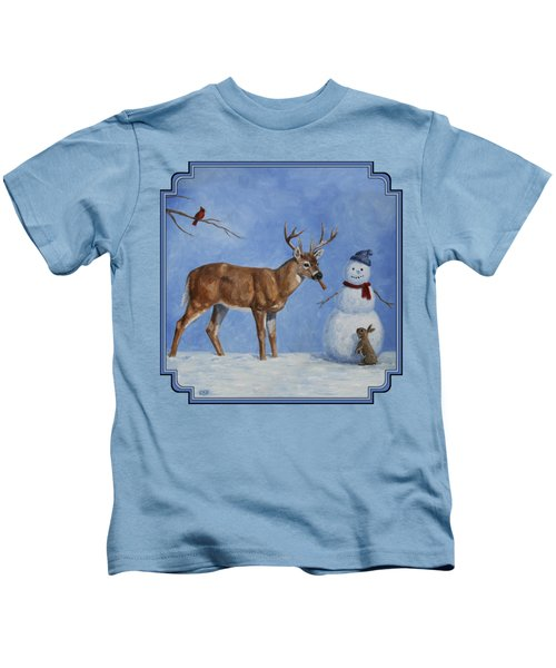 Whitetail Deer And Snowman - Whose Carrot? Kids T-Shirt by Crista Forest
