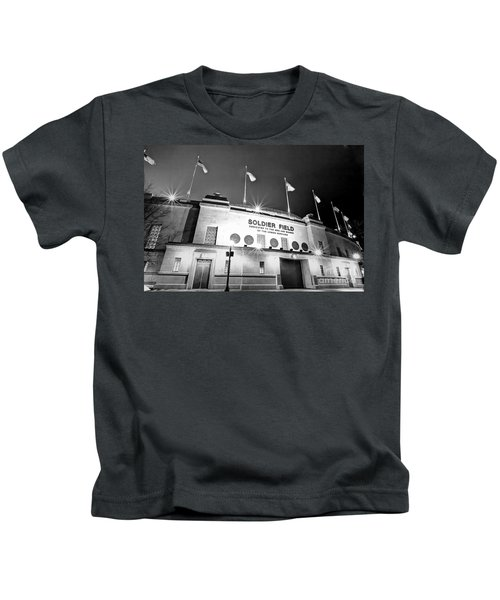 0879 Soldier Field Black And White Kids T-Shirt by Steve Sturgill