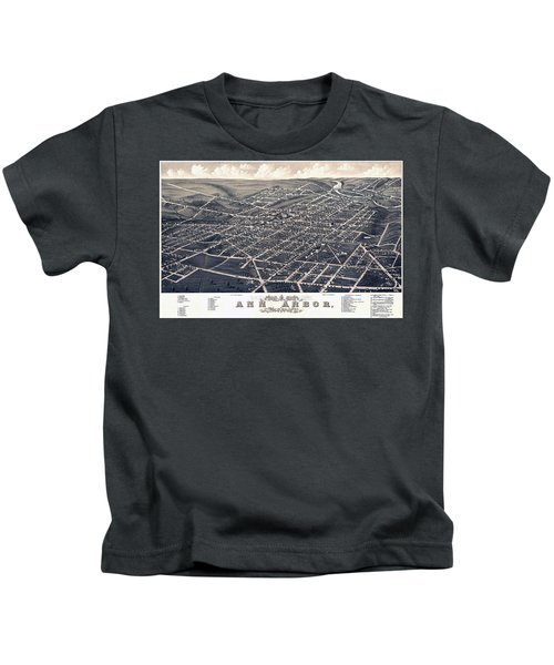 1880 Birds Eye Map Of Ann Arbor Kids T-Shirt by Stephen Stookey
