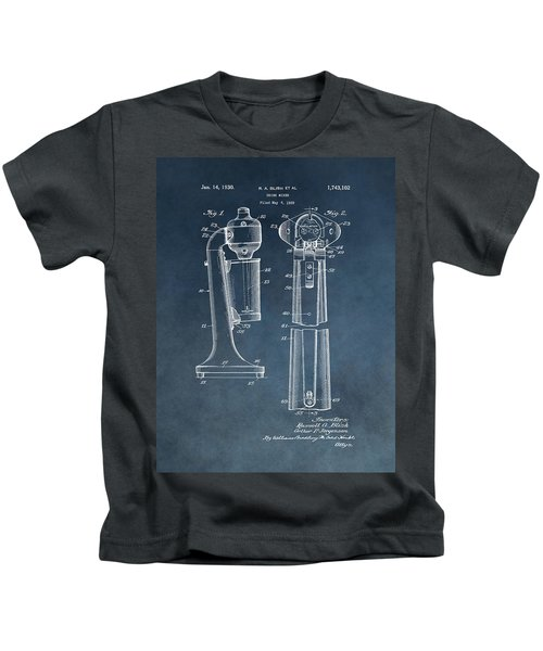 1930 Drink Mixer Patent Blue Kids T-Shirt by Dan Sproul