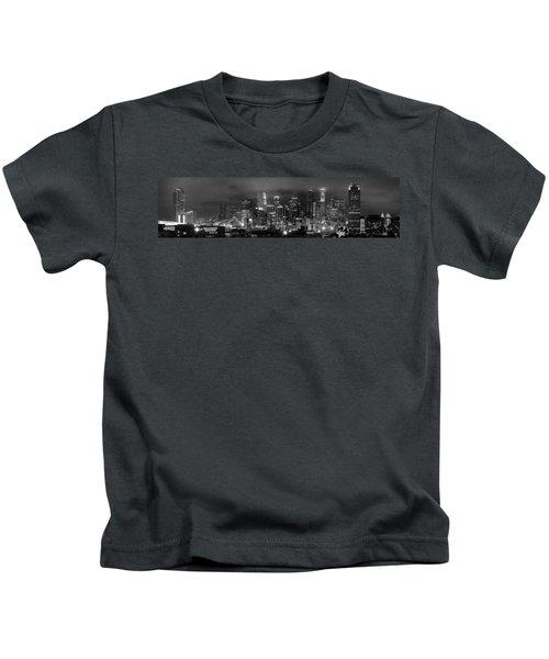 Gotham City - Los Angeles Skyline Downtown At Night Kids T-Shirt by Jon Holiday