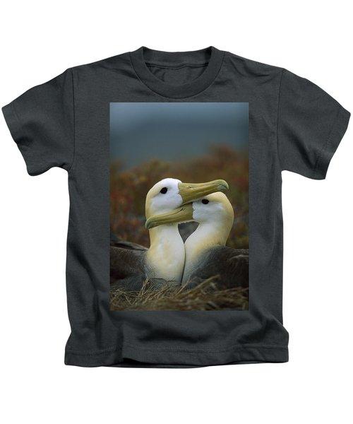 Waved Albatross Pair Bonding Galapagos Kids T-Shirt by Tui De Roy