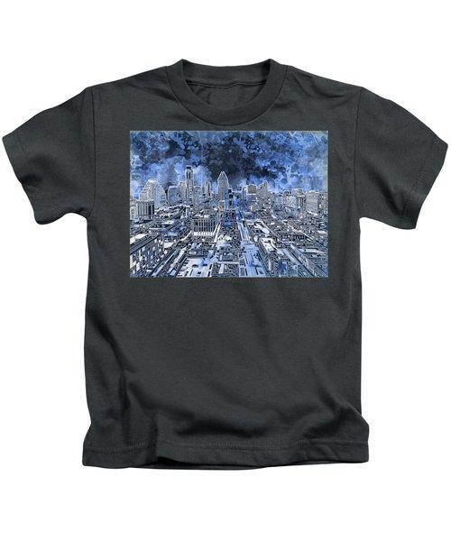 Austin Texas Abstract Panorama 5 Kids T-Shirt by Bekim Art