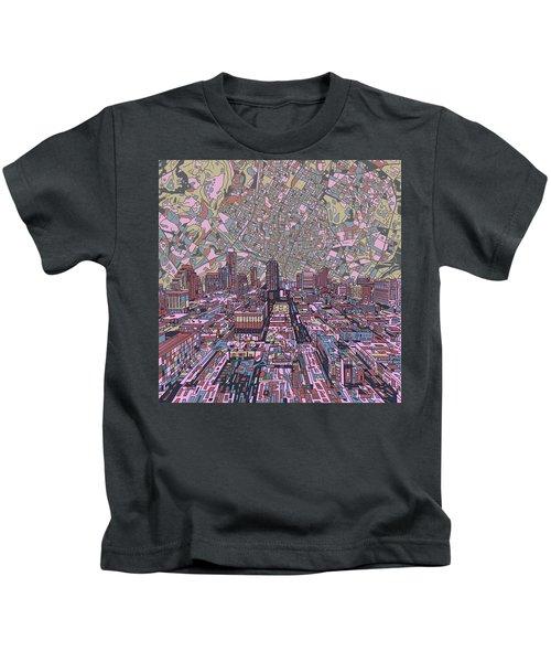 Austin Texas Vintage Panorama 2 Kids T-Shirt by Bekim Art