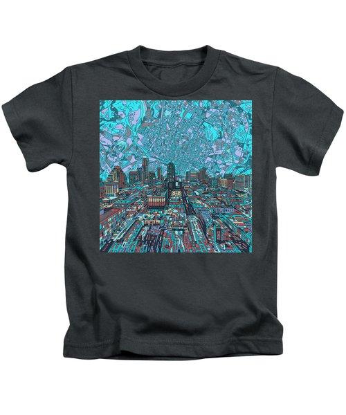 Austin Texas Vintage Panorama 4 Kids T-Shirt by Bekim Art