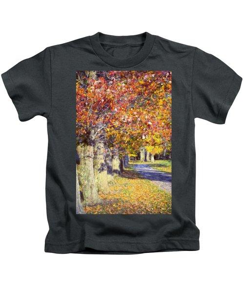 Autumn In Hyde Park Kids T-Shirt by Joan Carroll