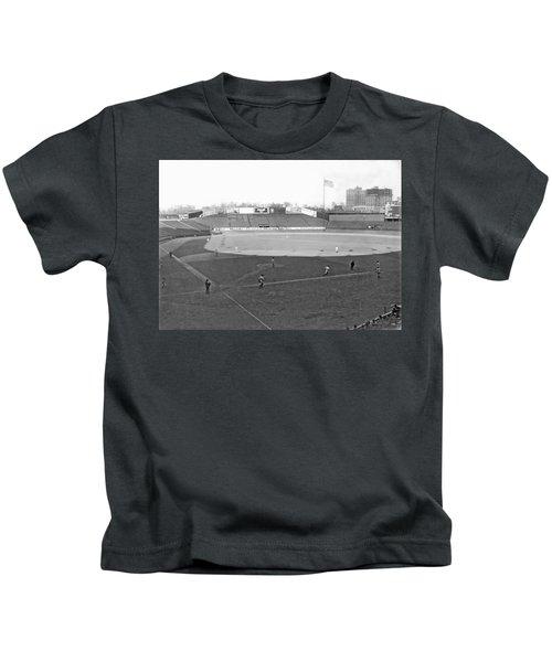Baseball At Yankee Stadium Kids T-Shirt by Underwood Archives