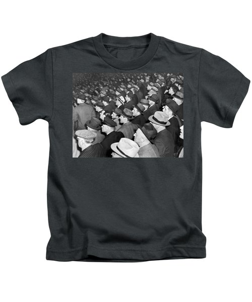 Baseball Fans At Yankee Stadium For The Third Game Of The World Kids T-Shirt by Underwood Archives