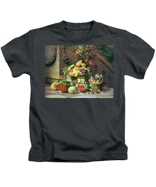 Baskets Of Summer Fruits Kids T-Shirt by William Hammer