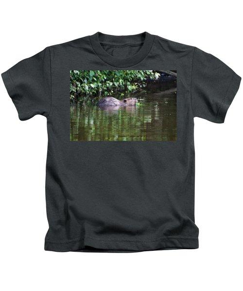 beaver swims in NC lake Kids T-Shirt by Chris Flees