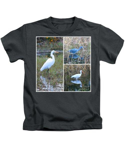 Birds On Pond Collage Kids T-Shirt by Carol Groenen