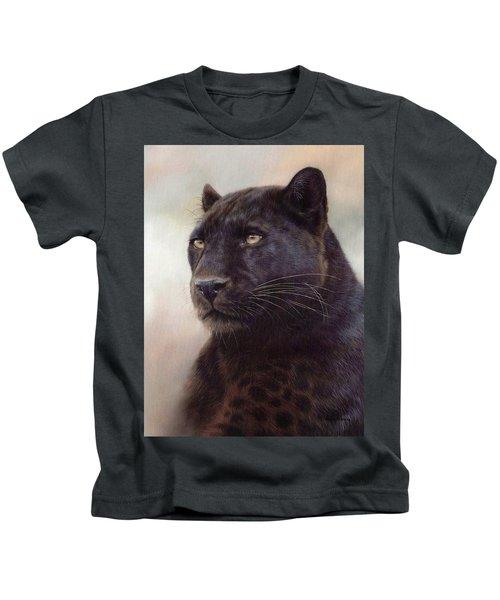 Black Leopard Painting Kids T-Shirt by Rachel Stribbling