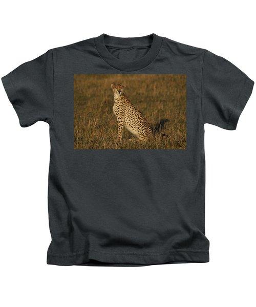 Cheetah On Savanna Masai Mara Kenya Kids T-Shirt by Hiroya Minakuchi