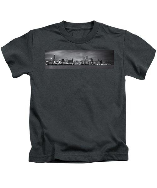 Chicago Skyline At Night Black And White Panoramic Kids T-Shirt by Adam Romanowicz