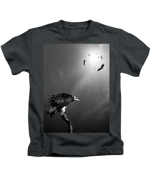Conceptual - Vultures Awaiting Kids T-Shirt by Johan Swanepoel