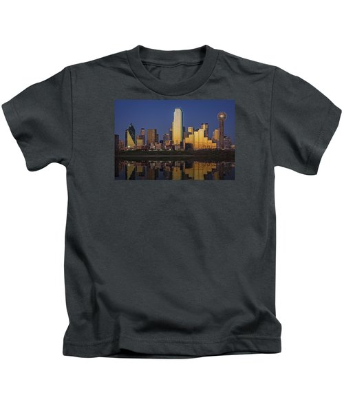 Dallas At Dusk Kids T-Shirt by Rick Berk