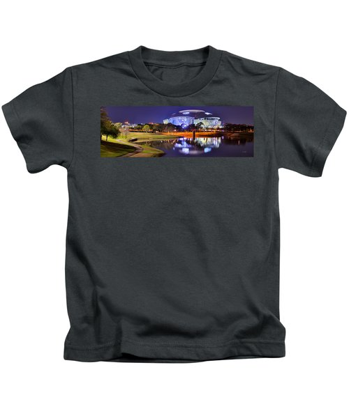 Dallas Cowboys Stadium At Night Att Arlington Texas Panoramic Photo Kids T-Shirt by Jon Holiday