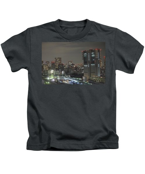 Docomo Tower Over Shinagawa Station And Tokyo Skyline At Night Kids T-Shirt by Jeff at JSJ Photography
