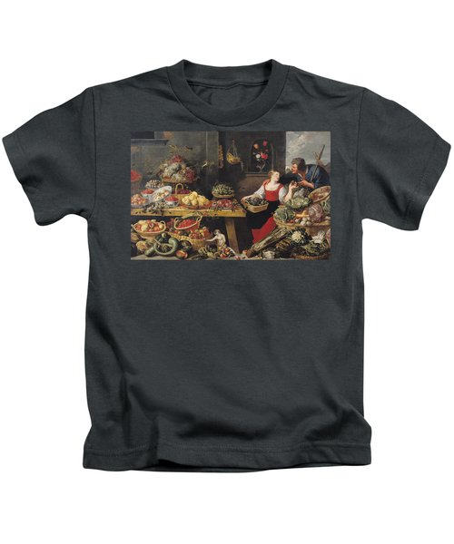 Fruit And Vegetable Market Oil On Canvas Kids T-Shirt by Frans Snyders