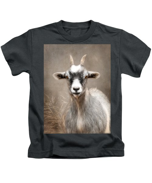Goat Portrait Kids T-Shirt by Lori Deiter