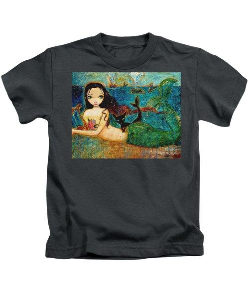 Little Mermaid Kids T-Shirt by Shijun Munns