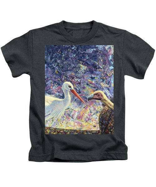 Living Between Beaks Kids T-Shirt by James W Johnson